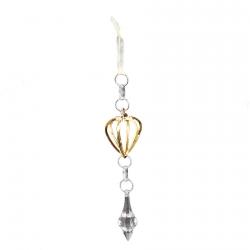 Décoration à suspendre cœur or et bijoux scintillants
