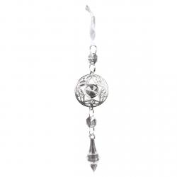 Décoration à suspendre étoile argentée et bijoux scintillants